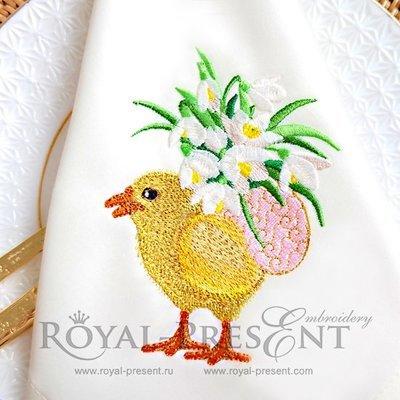 Дизайн машинной вышивки Пасхальный цыпленок несет яйцо с цветами