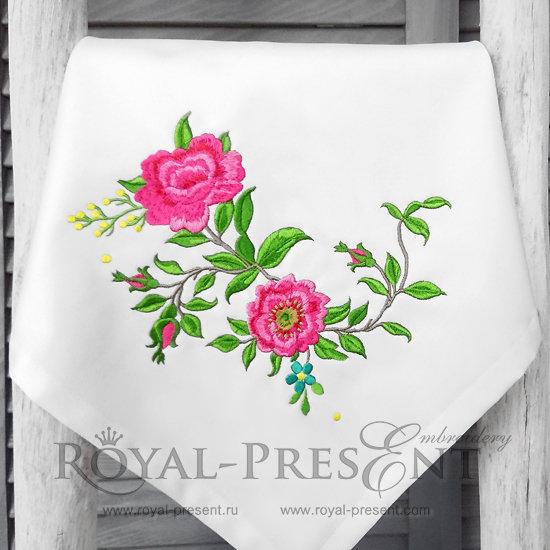 Дизайн машинной вышивки Розы садовые угол - 2 размера