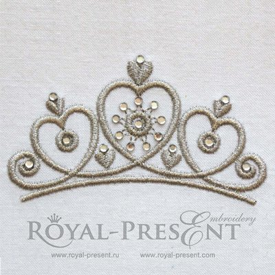 Дизайн машинной вышивки Тиара принцессы со стразами