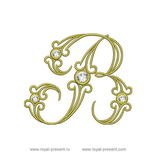 Дизайн машинной вышивки Заглавная буква В