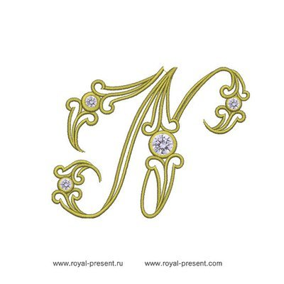Дизайн машинной вышивки Заглавная буква N