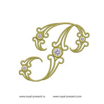 Дизайн машинной вышивки Заглавная буква P