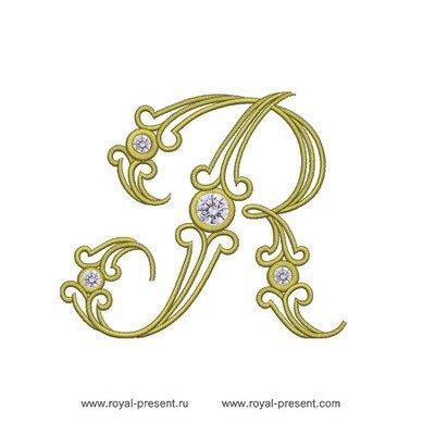 Дизайн машинной вышивки Заглавная буква R