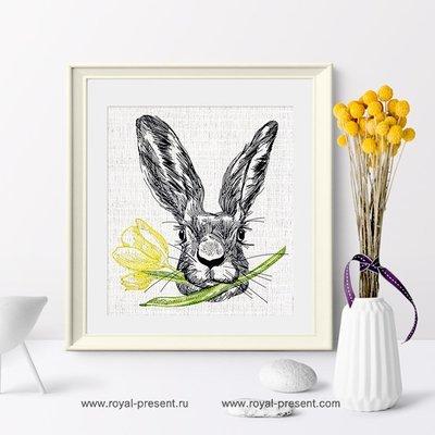 Дизайн машинной вышивки Пасхальный Кролик с тюльпаном