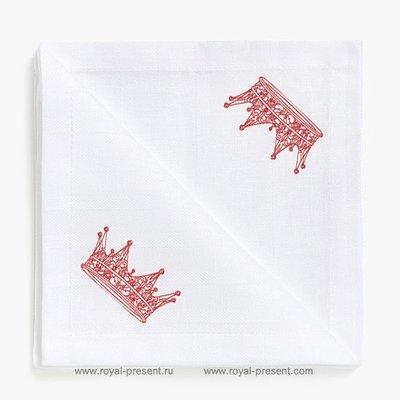 Дизайн машинной вышивки в стиле REDWORK Корона №1