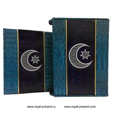 Дизайн машинной вышивки Символ Ислама Звезда и Полумесяц - 3 размера