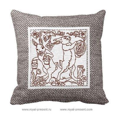 Дизайн машинной вышивки Пасхальные кролики в стиле Red Work