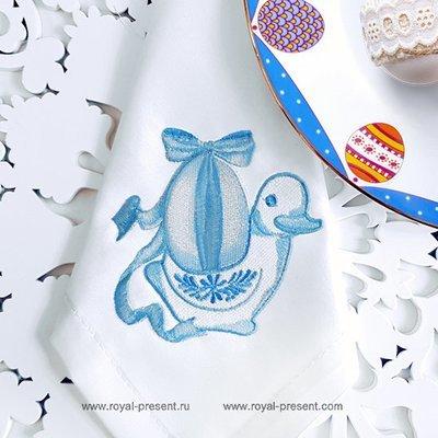 Дизайн машинной вышивки Пасхальная уточка