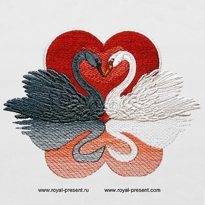 Дизайн машинной вышивки Лебеди