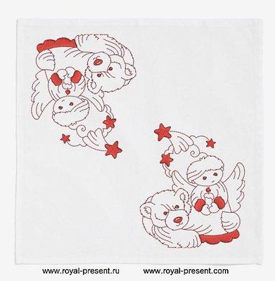 Дизайн машинной вышивки - Новогодний мишка и Ангел