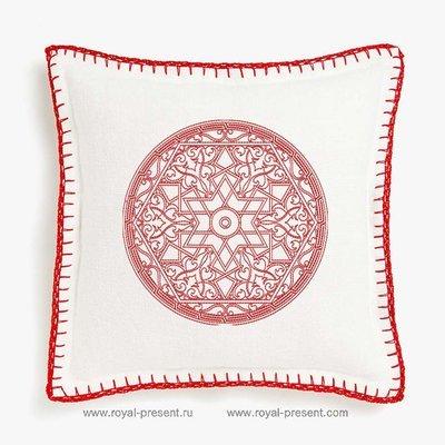 Дизайн машинной вышивки Восточный орнамент Red Work