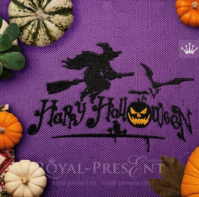 Дизайн для машинной вышивки Ведьма Хэллоуин - 6 размеров