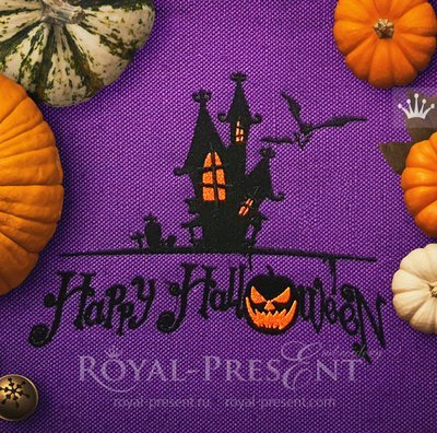 Дизайн машинной вышивки Замок Хэллоуин