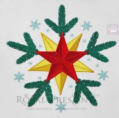 Дизайн машинной вышивки бесплатно Новогодняя звезда