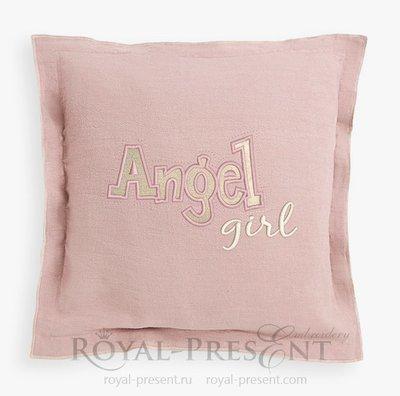 Дизайн машинной вышивки Аппликация Девочка Ангел