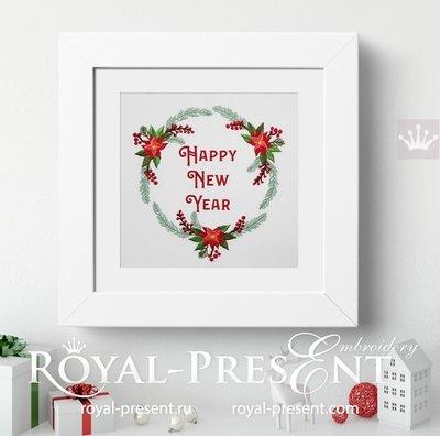Дизайн вышивки Новогодний Венок с надписью - 2 размера