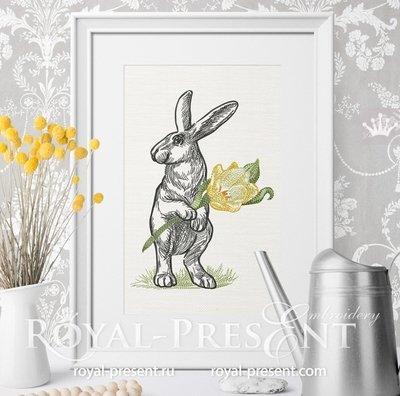 Кролик дизайн машинной вышивки - 6 размеров