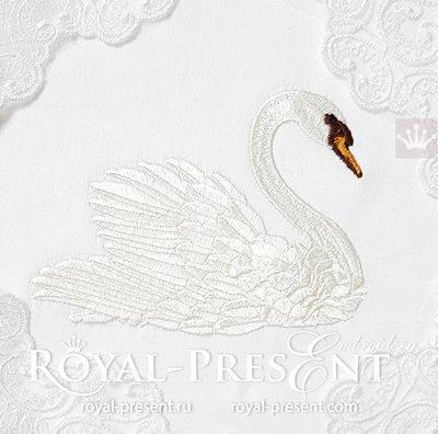 Дизайн машинной вышивки Лебедь