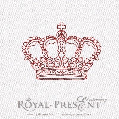 Дизайн машинной вышивки в стиле REDWORK - Корона #4