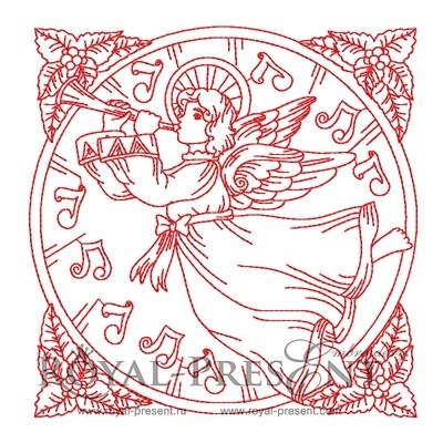 Дизайн для машинной вышивки Рождественское настроение с Ангелом