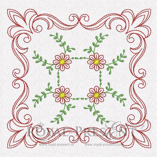 Дизайн машинной вышивки для квилта - Цветочный мотив #3
