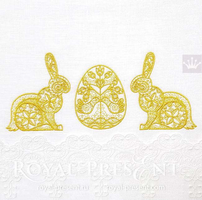 Дизайн вышивки Пасхальный Кролик с яйцом - 3 размера