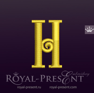 Дизайн машинной вышивки Заглавная буква H вариант 3