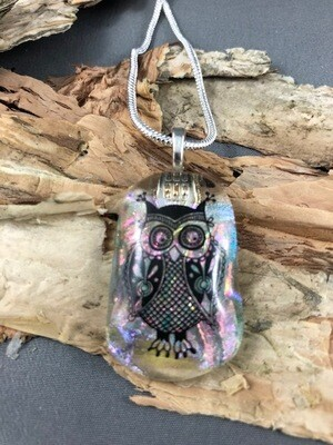 Gorgeous coloured/clear dichroic glass pendant with lovely owl decal on a silver necklace