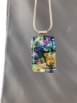 Gorgeous layered dichroic fused glass pendant Colourful pendant with a silver necklace