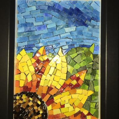 Beautiful Smalti sunflower mosaic
