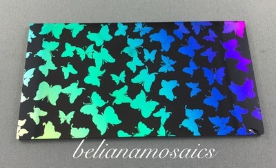 Dichroic Fusing Glass- Butterfly on black - Rainbow 2 - COE 96 100mm x 50mm