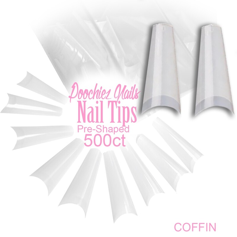 D2 COFFIN NAIL TIPS 500ct + LARGE TIP BOX SIZES 0-9