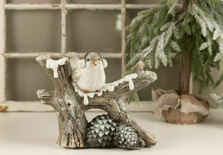 Fugl på træstup m/kogler