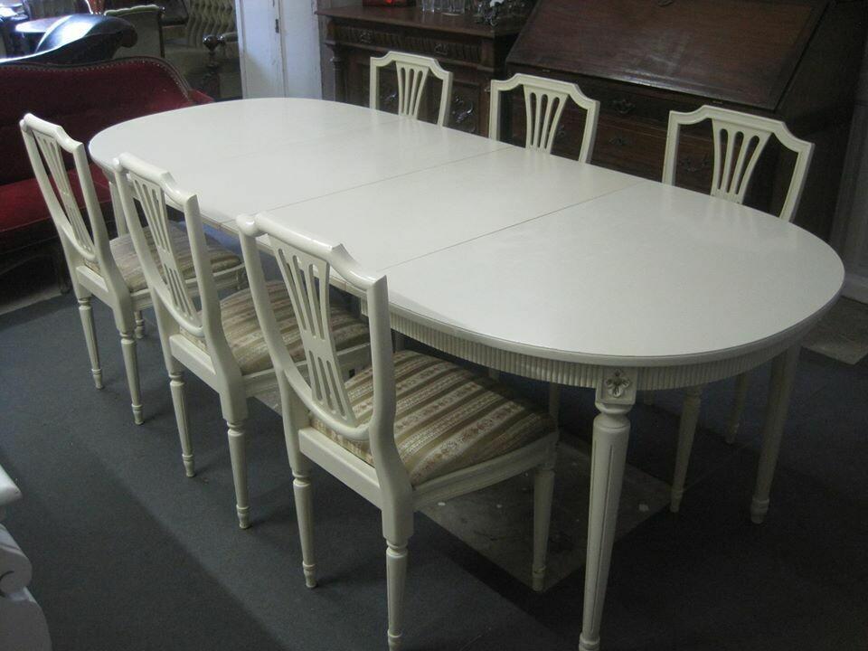 Louis Seize stue med 6 stole. L140B100 + 3 plader a 50 cm