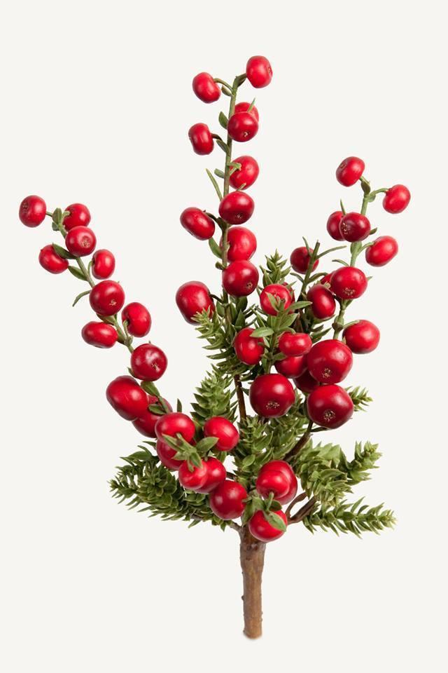 Dekorationskvist - Røde bær. H24 cm