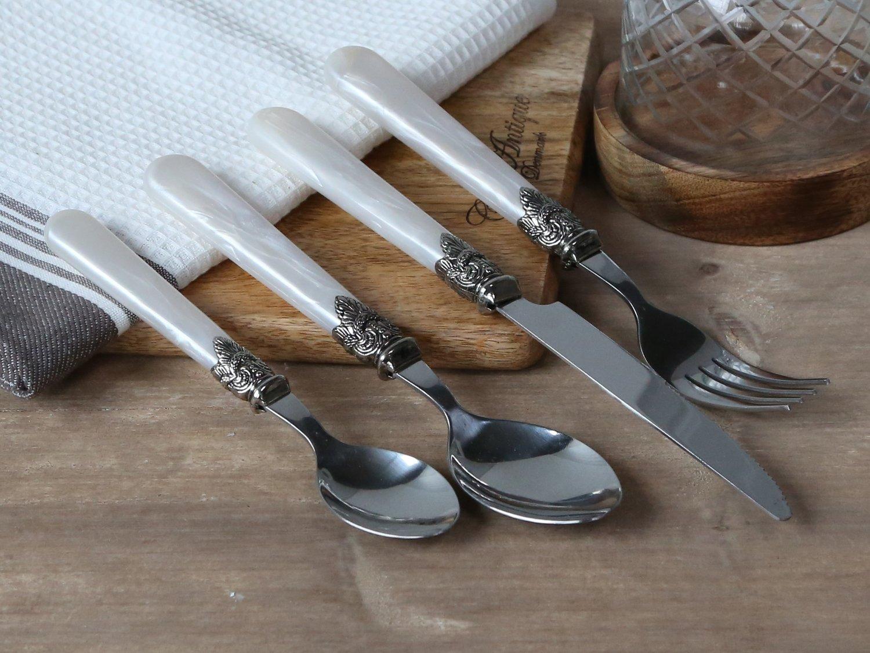 Køkken bestik sæt til 4 personer, perlemor m. sølv deko. I alt 16 dele.