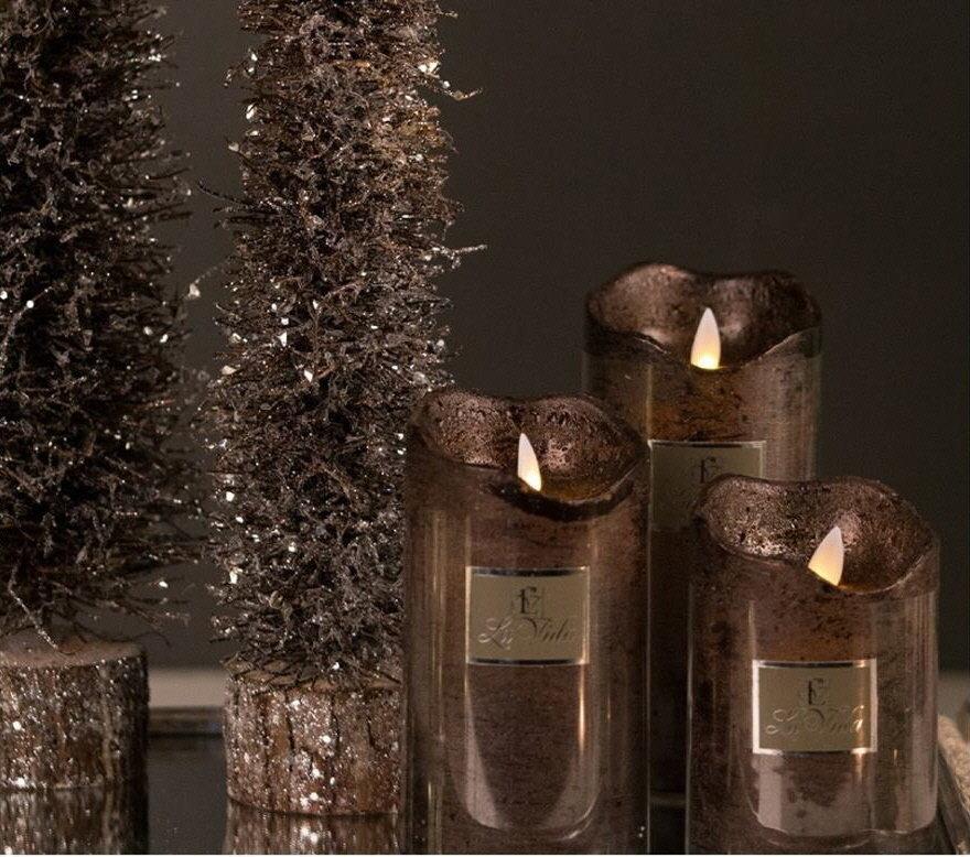 Led lys m. timer brun metallic H14,2 cm