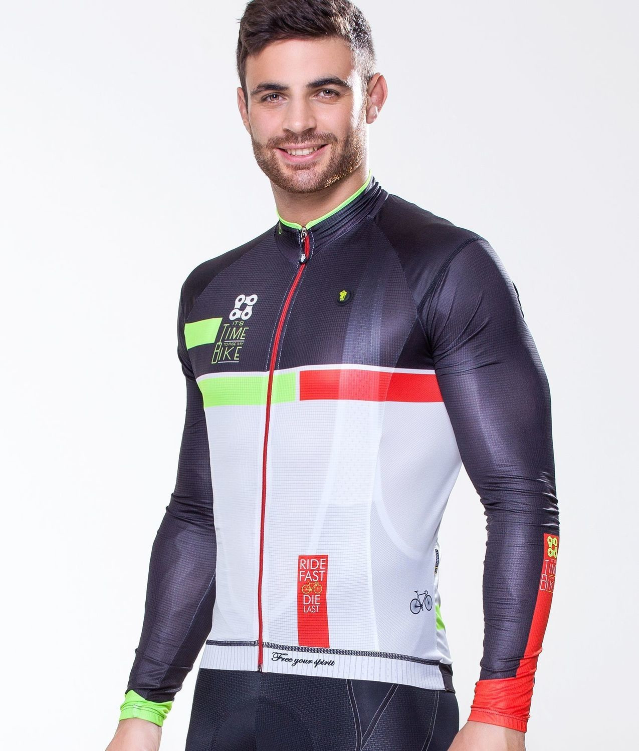 Long Sleeve Jersey - Time to Ride Red