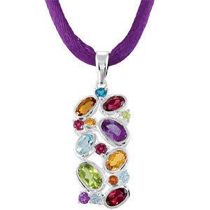 Genuine Multi-Gemstone Pendant on Silk Cord Necklace