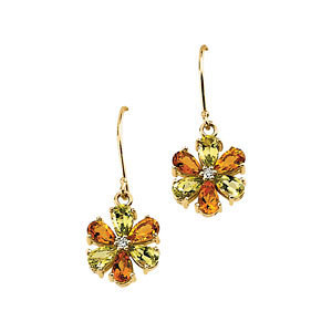 14K Yellow Gold Drop Earrings - Citrine, Peridot & Diamond