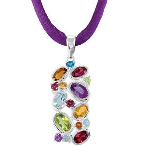 Genuine Multi-Gemstone Pendant on Silk Cord Necklace