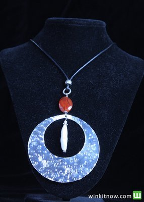 Hammered Silver Pendant Necklace