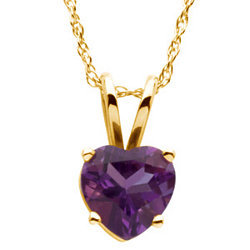 Heart Gemstone 14K Yellow Gold Necklace