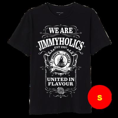 Jimmy's Black T-Shirt & White A3 Print Design 2 - (S)