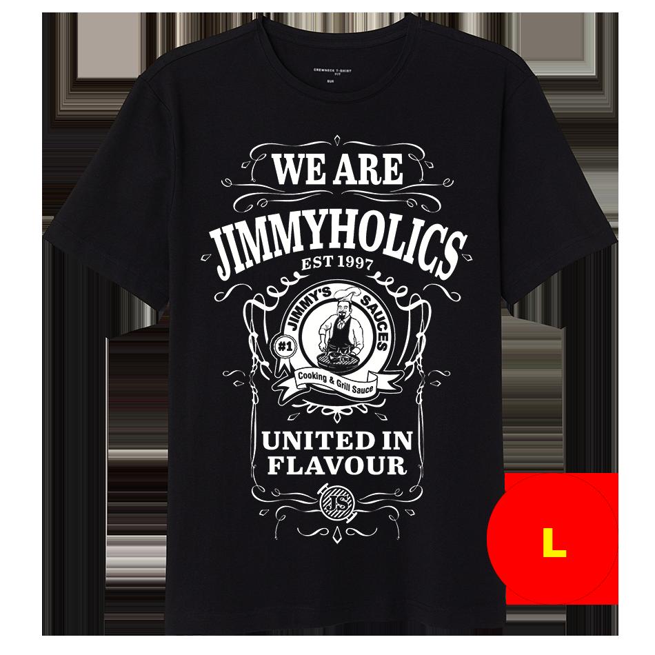 Jimmy's Black T-Shirt & White A3 Print Design 2 - (L)