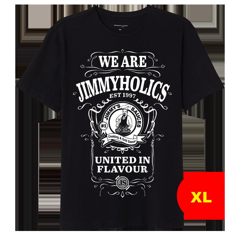 Jimmy's Black T-Shirt & White A3 Print Design 2 - (XL)