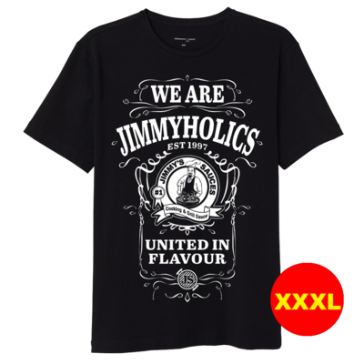 Jimmy's Black T-Shirt & White A3 Print Design 2 - (XXXL)