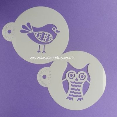 Retro Owl and Bird Stencil Set (C764)