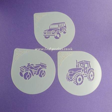 Farm Vehicles Cupcake Stencil Set - Lindy's LC212