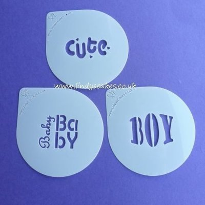 Baby and Boy Words Cupcake Stencil Set - Lindy's (LC207)